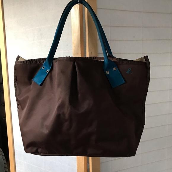 7a0d4a7631d Agnes B. Bags | Agnes B Voyager Tote Bag In Blue Brown Nylon | Poshmark